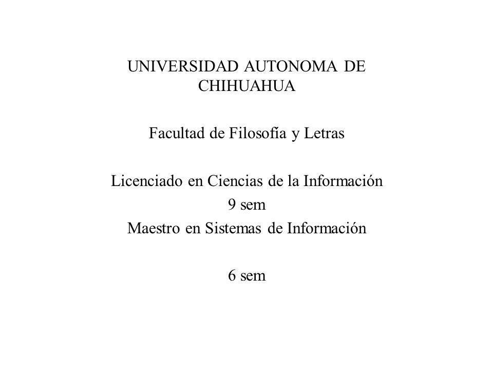 UNIVERSIDAD AUTONOMA DE CHIHUAHUA Facultad de Filosofía y Letras Licenciado en Ciencias de la Información 9 sem Maestro en Sistemas de Información 6 s