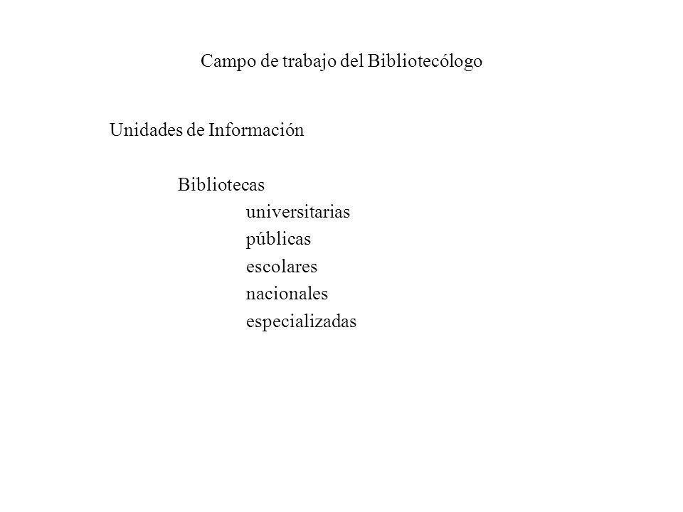 Campo de trabajo del Bibliotecólogo Unidades de Información Bibliotecas universitarias públicas escolares nacionales especializadas