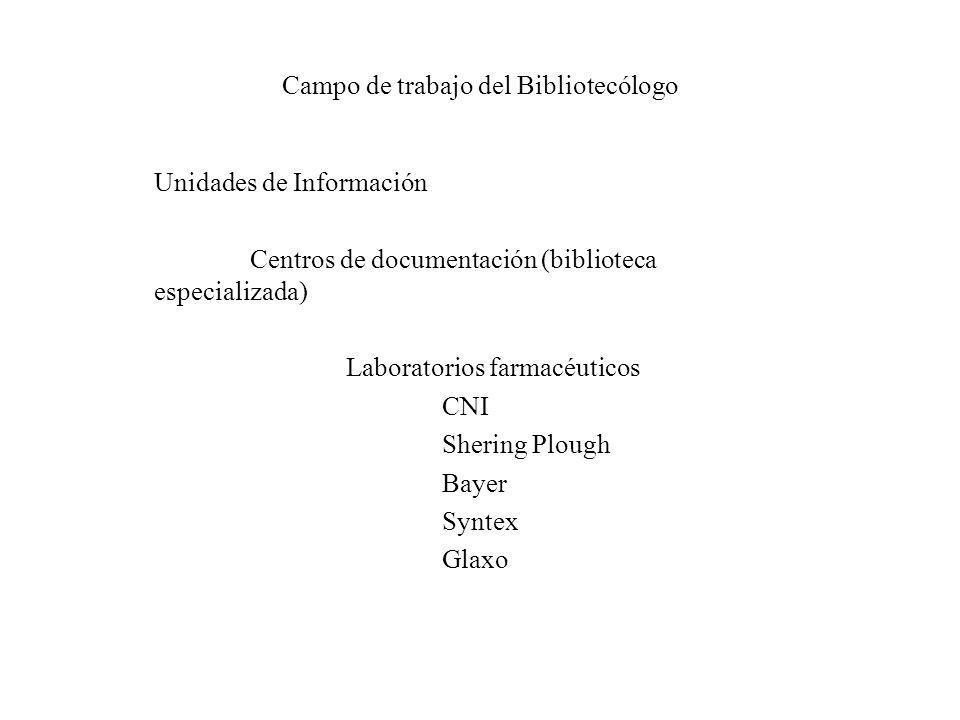 Campo de trabajo del Bibliotecólogo Unidades de Información Centros de documentación (biblioteca especializada) Laboratorios farmacéuticos CNI Shering