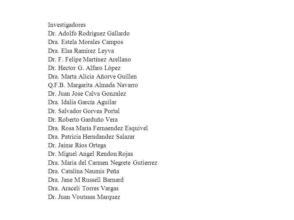 Investigadores Dr. Adolfo Rodriguez Gallardo Dra. Estela Morales Campos Dra. Elsa Ramirez Leyva Dr. F. Felipe Martínez Arellano Dr. Hector G. Alfaro L