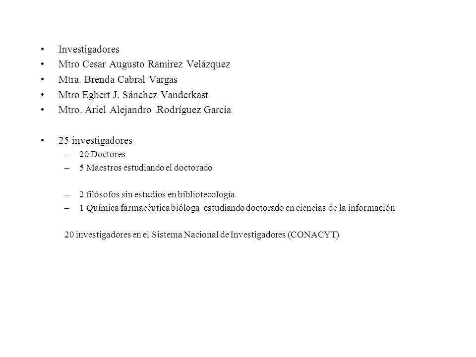 Investigadores Mtro Cesar Augusto Ramirez Velázquez Mtra. Brenda Cabral Vargas Mtro Egbert J. Sánchez Vanderkast Mtro. Ariel Alejandro.Rodríguez Garcí