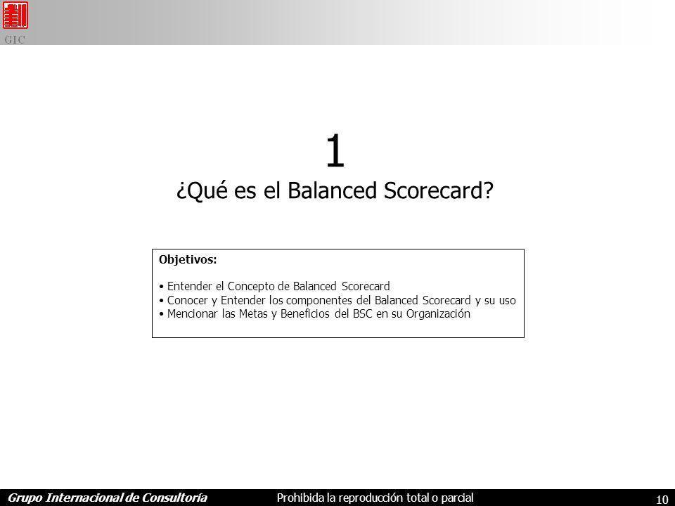 Grupo Internacional de ConsultoríaProhibida la reproducción total o parcial 10 1 ¿Qué es el Balanced Scorecard.