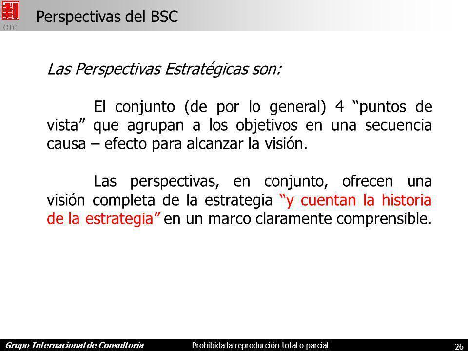 Grupo Internacional de ConsultoríaProhibida la reproducción total o parcial 26 Perspectivas del BSC Las Perspectivas Estratégicas son: El conjunto (de por lo general) 4 puntos de vista que agrupan a los objetivos en una secuencia causa – efecto para alcanzar la visión.