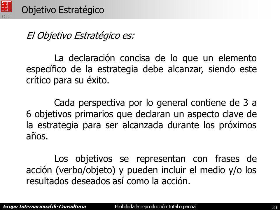 Grupo Internacional de ConsultoríaProhibida la reproducción total o parcial 33 Objetivo Estratégico El Objetivo Estratégico es: La declaración concisa de lo que un elemento específico de la estrategia debe alcanzar, siendo este crítico para su éxito.