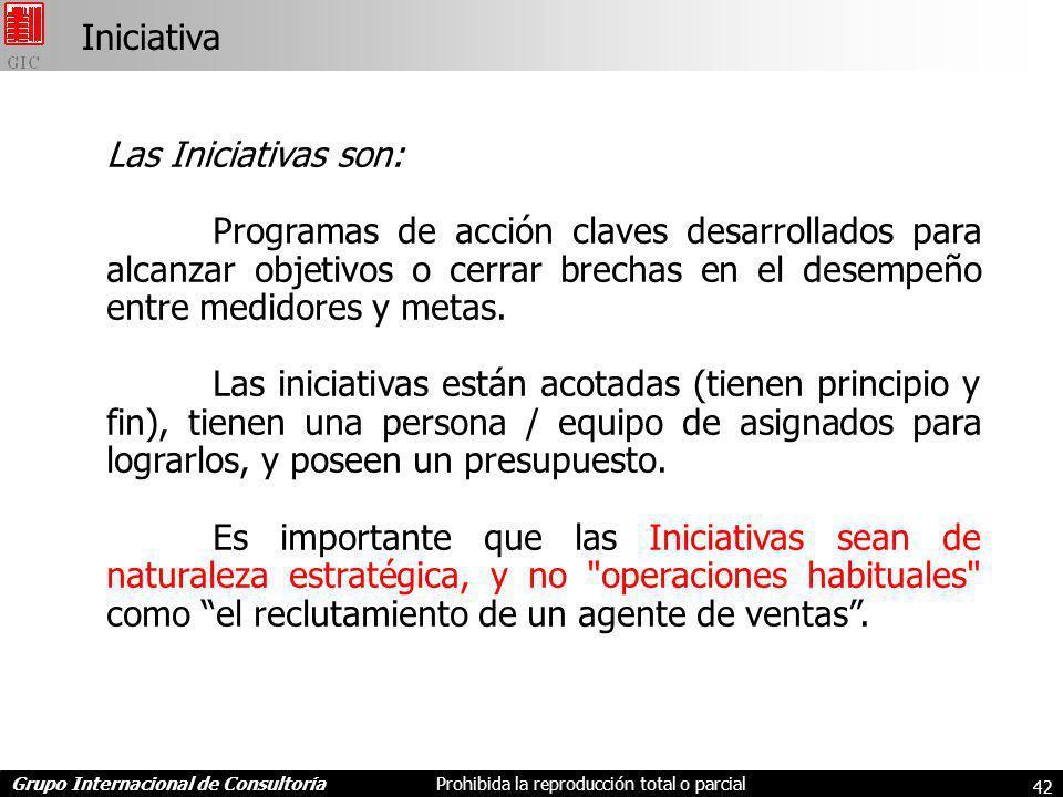 Grupo Internacional de ConsultoríaProhibida la reproducción total o parcial 42 Iniciativa Las Iniciativas son: Programas de acción claves desarrollados para alcanzar objetivos o cerrar brechas en el desempeño entre medidores y metas.