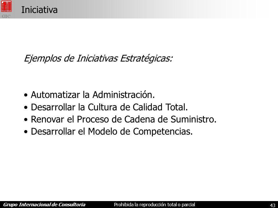 Grupo Internacional de ConsultoríaProhibida la reproducción total o parcial 43 Ejemplos de Iniciativas Estratégicas: Automatizar la Administración.