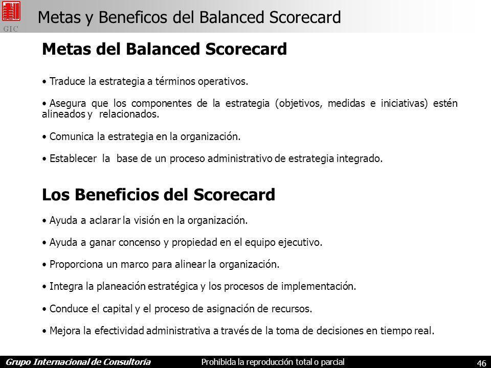 Grupo Internacional de ConsultoríaProhibida la reproducción total o parcial 46 Metas del Balanced Scorecard Traduce la estrategia a términos operativos.