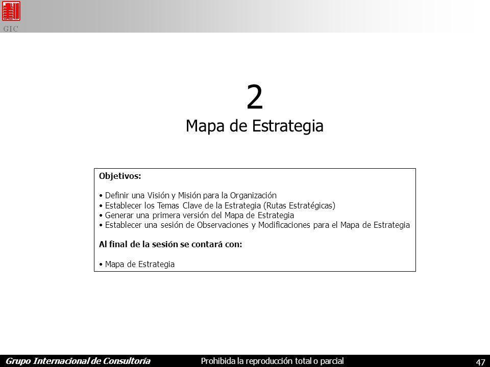 Grupo Internacional de ConsultoríaProhibida la reproducción total o parcial 47 2 Mapa de Estrategia Objetivos: Definir una Visión y Misión para la Organización Establecer los Temas Clave de la Estrategia (Rutas Estratégicas) Generar una primera versión del Mapa de Estrategia Establecer una sesión de Observaciones y Modificaciones para el Mapa de Estrategia Al final de la sesión se contará con: Mapa de Estrategia