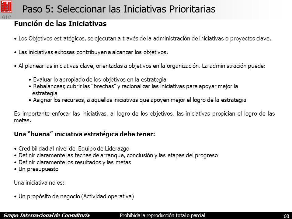 Grupo Internacional de ConsultoríaProhibida la reproducción total o parcial 60 Función de las Iniciativas Los Objetivos estratégicos, se ejecutan a través de la administración de iniciativas o proyectos clave.