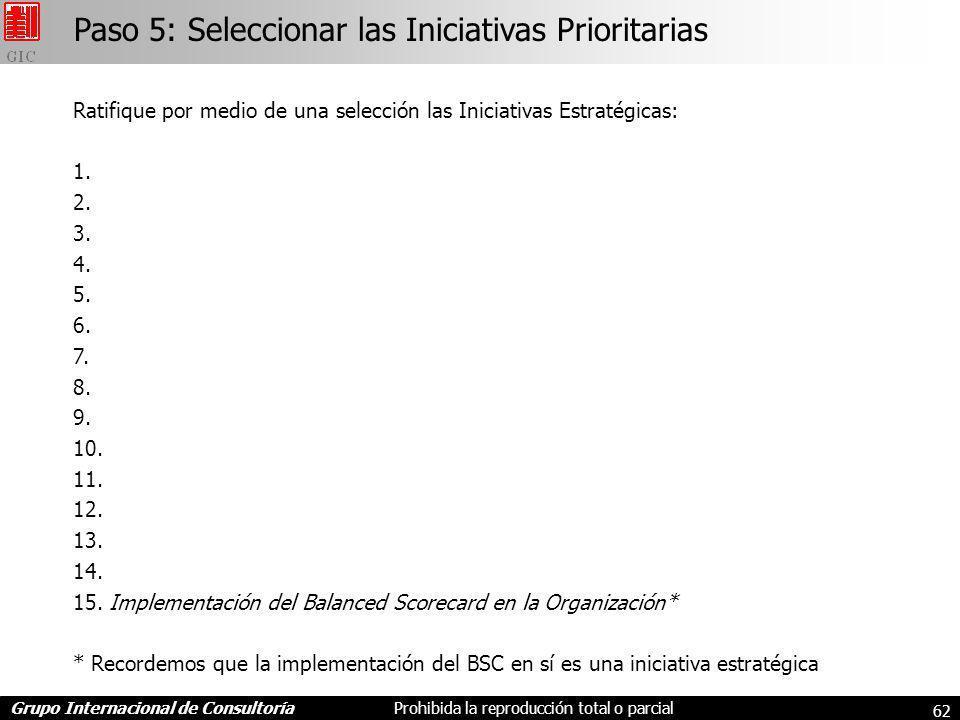 Grupo Internacional de ConsultoríaProhibida la reproducción total o parcial 62 Paso 5: Seleccionar las Iniciativas Prioritarias Ratifique por medio de una selección las Iniciativas Estratégicas: 1.