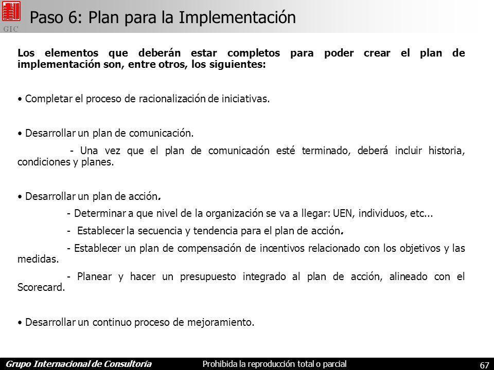 Grupo Internacional de ConsultoríaProhibida la reproducción total o parcial 67 Los elementos que deberán estar completos para poder crear el plan de implementación son, entre otros, los siguientes: Completar el proceso de racionalización de iniciativas.