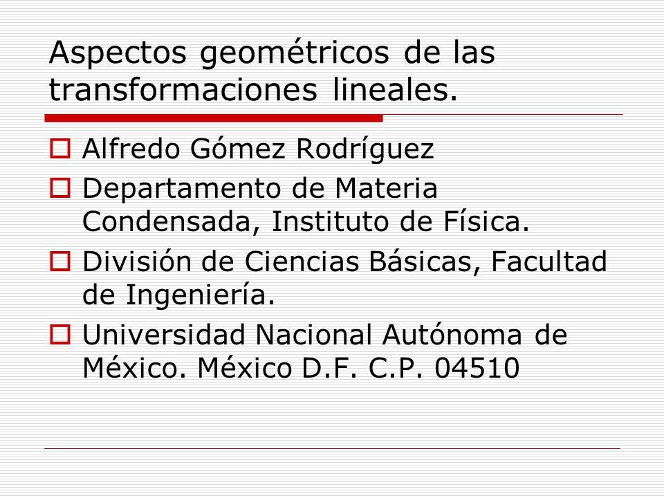 Aspectos geométricos de las transformaciones lineales. Alfredo Gómez Rodríguez Departamento de Materia Condensada, Instituto de Física. División de Ci