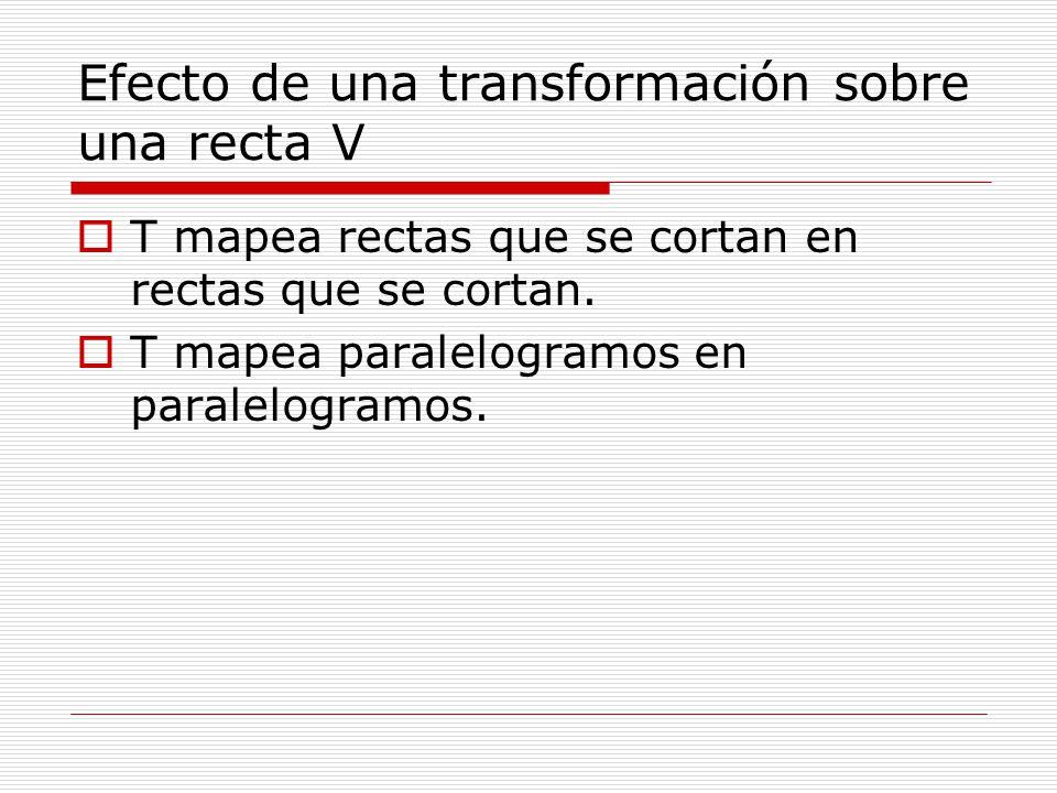 Efecto de una transformación sobre una recta V T mapea rectas que se cortan en rectas que se cortan. T mapea paralelogramos en paralelogramos.