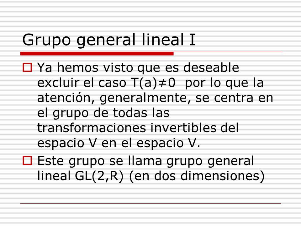 Grupo general lineal I Ya hemos visto que es deseable excluir el caso T(a)0 por lo que la atención, generalmente, se centra en el grupo de todas las t