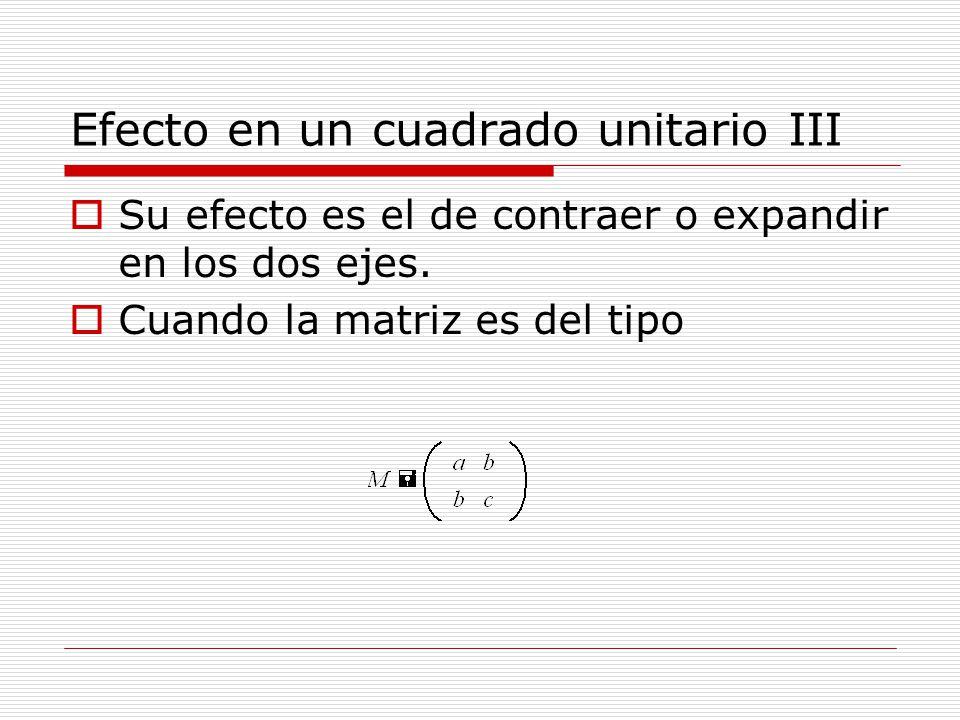 Efecto en un cuadrado unitario III Su efecto es el de contraer o expandir en los dos ejes. Cuando la matriz es del tipo