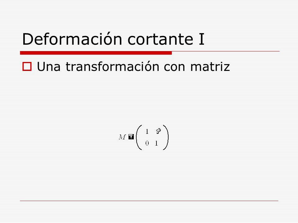 Deformación cortante I Una transformación con matriz