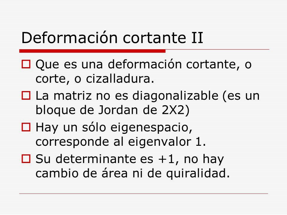 Deformación cortante II Que es una deformación cortante, o corte, o cizalladura. La matriz no es diagonalizable (es un bloque de Jordan de 2X2) Hay un