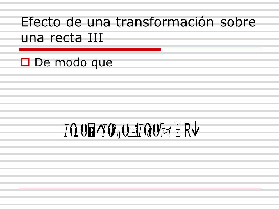 Efecto de una transformación sobre una recta IV Y si T(a)0 tendremos que la transformación mapea una recta en otra.