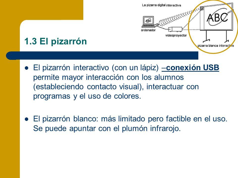 1.3 El pizarrón El pizarrón interactivo (con un lápiz) –conexión USB permite mayor interacción con los alumnos (estableciendo contacto visual), intera