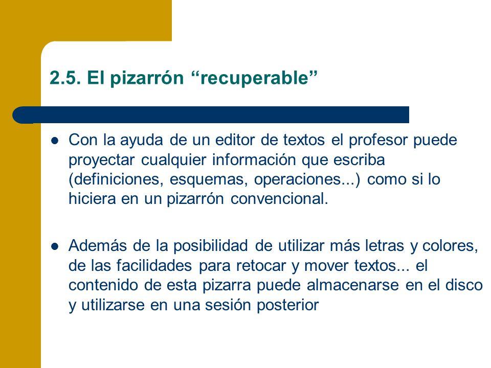 2.5. El pizarrón recuperable Con la ayuda de un editor de textos el profesor puede proyectar cualquier información que escriba (definiciones, esquemas