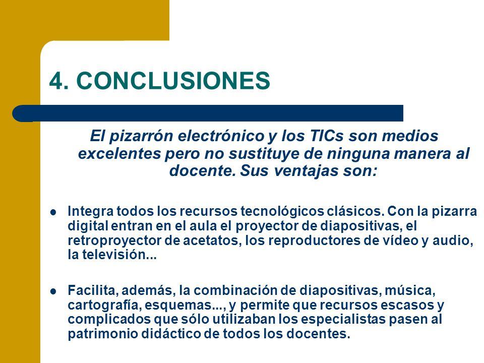4. CONCLUSIONES El pizarrón electrónico y los TICs son medios excelentes pero no sustituye de ninguna manera al docente. Sus ventajas son: Integra tod