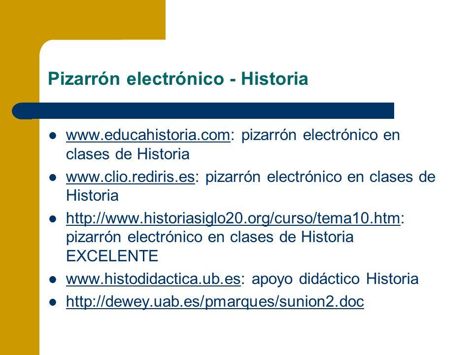 Pizarrón electrónico - Historia www.educahistoria.com: pizarrón electrónico en clases de Historia www.educahistoria.com www.clio.rediris.es: pizarrón