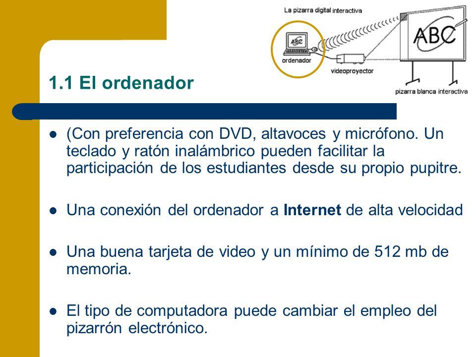 1.1 El ordenador (Con preferencia con DVD, altavoces y micrófono. Un teclado y ratón inalámbrico pueden facilitar la participación de los estudiantes