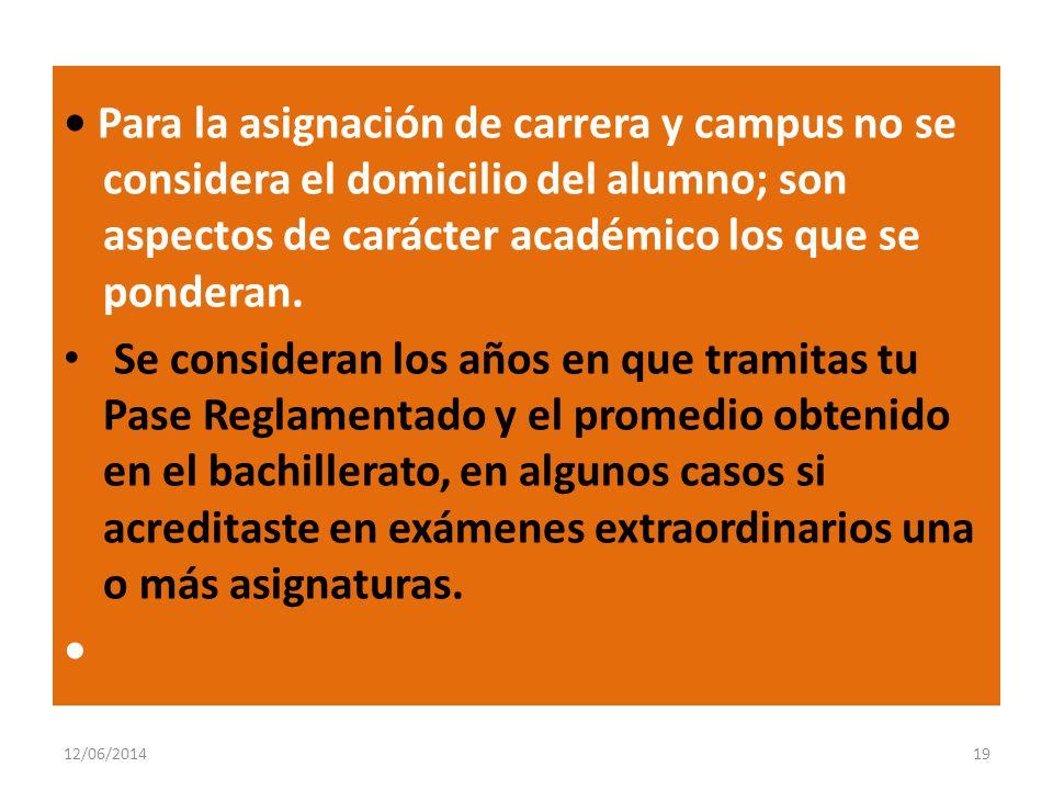 Para la asignación de carrera y campus no se considera el domicilio del alumno; son aspectos de carácter académico los que se ponderan. Se consideran