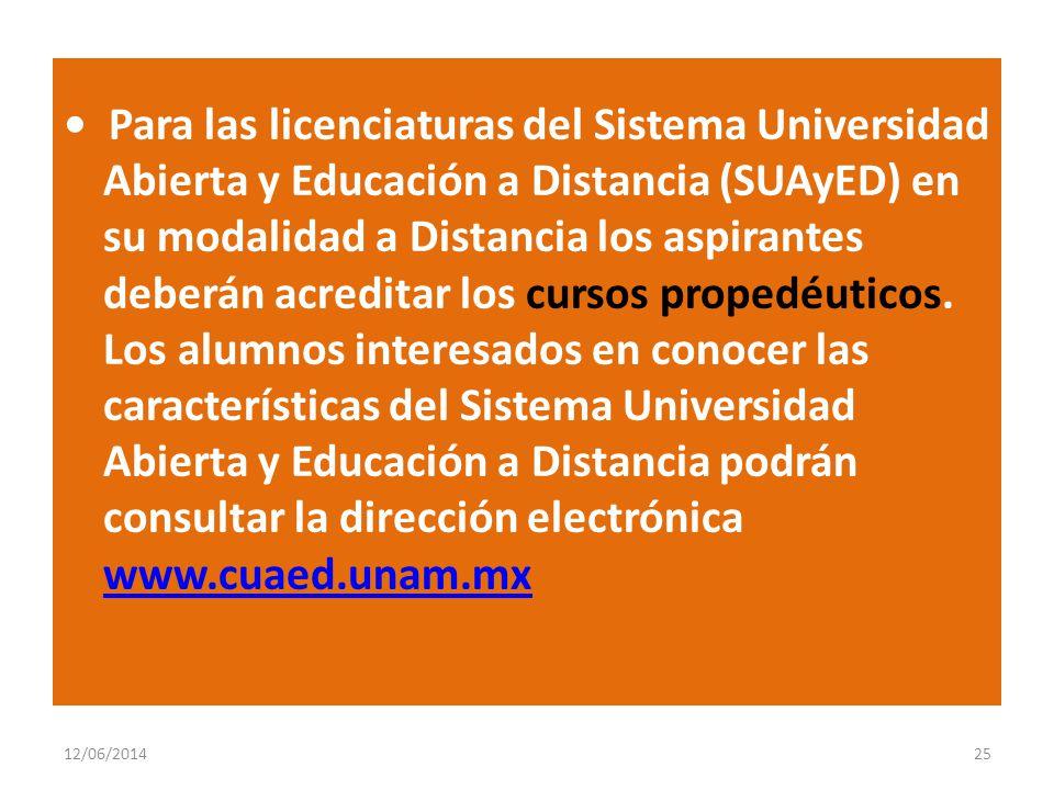 Para las licenciaturas del Sistema Universidad Abierta y Educación a Distancia (SUAyED) en su modalidad a Distancia los aspirantes deberán acreditar l