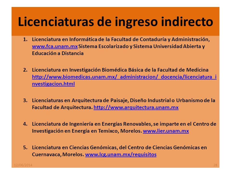 12/06/201428 1.Licenciatura en Informática de la Facultad de Contaduría y Administración, www.fca.unam.mx Sistema Escolarizado y Sistema Universidad Abierta y Educación a Distancia www.fca.unam.mx 2.Licenciatura en Investigación Biomédica Básica de la Facultad de Medicina http://www.biomedicas.unam.mx/_administracion/_docencia/licenciatura_i nvestigacion.html http://www.biomedicas.unam.mx/_administracion/_docencia/licenciatura_i nvestigacion.html 3.Licenciaturas en Arquitectura de Paisaje, Diseño Industrial o Urbanismo de la Facultad de Arquitectura.