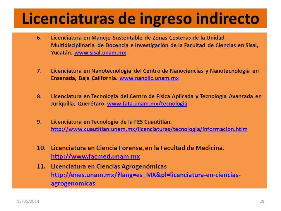 12/06/201429 Licenciaturas de ingreso indirecto 6.Licenciatura en Manejo Sustentable de Zonas Costeras de la Unidad Multidisciplinaria de Docencia e Investigación de la Facultad de Ciencias en Sisal, Yucatán.