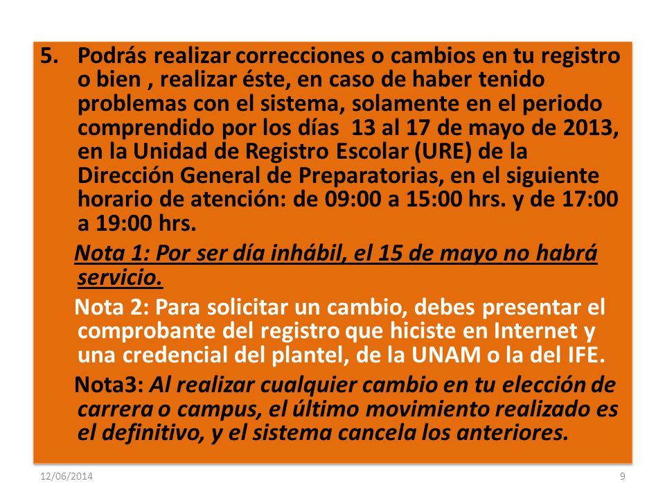 12/06/20149 5.Podrás realizar correcciones o cambios en tu registro o bien, realizar éste, en caso de haber tenido problemas con el sistema, solamente