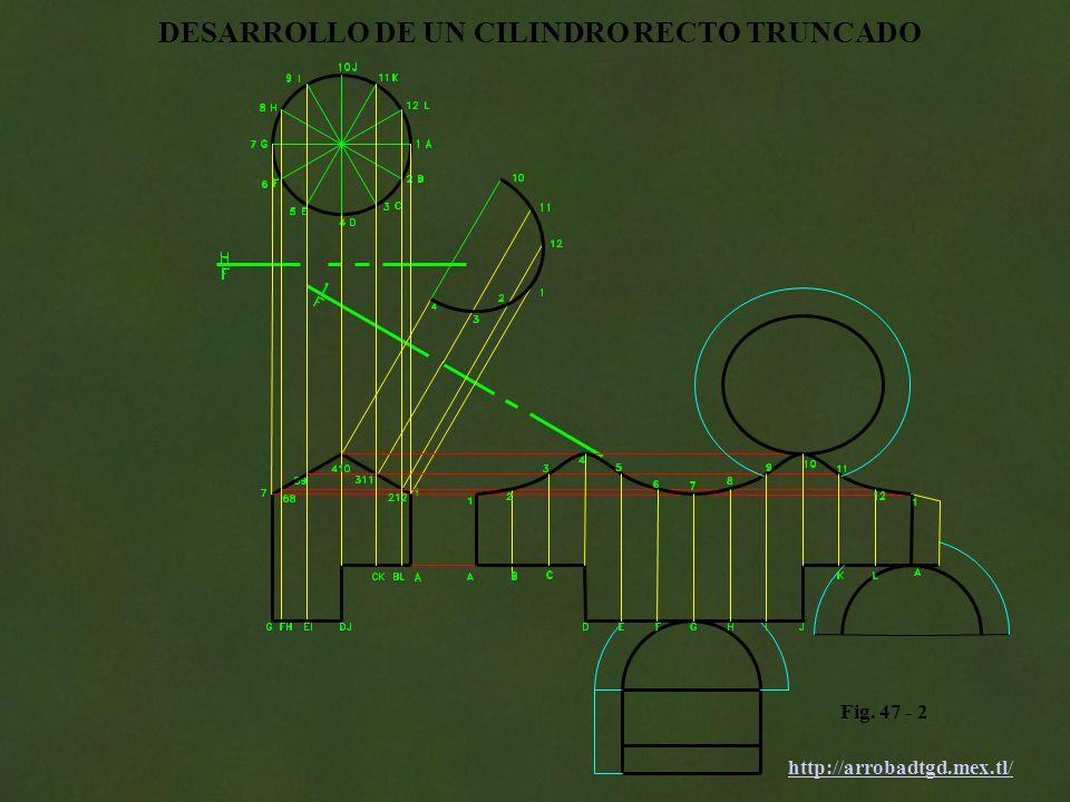 http://arrobadtgd.mex.tl/ Fig. 47 - 2 DESARROLLO DE UN CILINDRO RECTO TRUNCADO