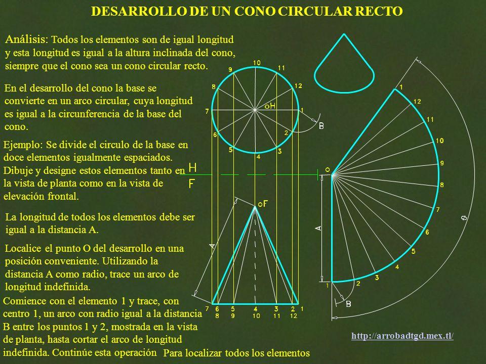 Comience con el elemento 1 y trace, con centro 1, un arco con radio igual a la distancia B entre los puntos 1 y 2, mostrada en la vista de planta, hasta cortar el arco de longitud indefinida.