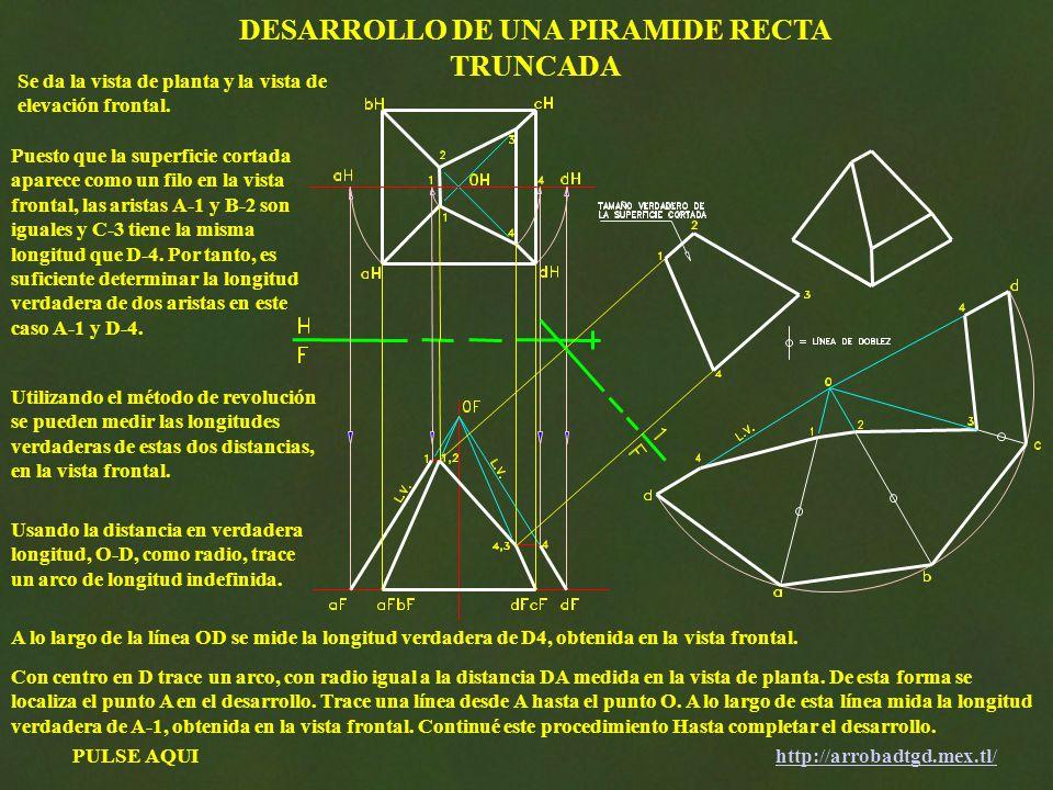PULSE AQUIhttp://arrobadtgd.mex.tl/ DESARROLLO DE UNA PIRAMIDE RECTA TRUNCADA Se da la vista de planta y la vista de elevación frontal. Puesto que la