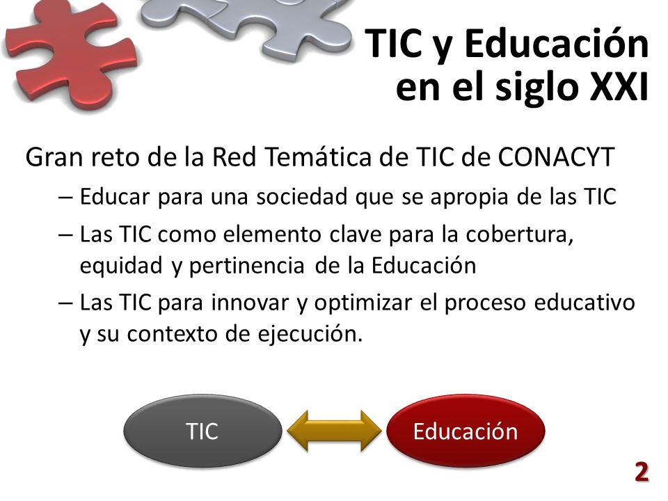 TIC y Educación en el siglo XXI Gran reto de la Red Temática de TIC de CONACYT – Educar para una sociedad que se apropia de las TIC – Las TIC como elemento clave para la cobertura, equidad y pertinencia de la Educación – Las TIC para innovar y optimizar el proceso educativo y su contexto de ejecución.