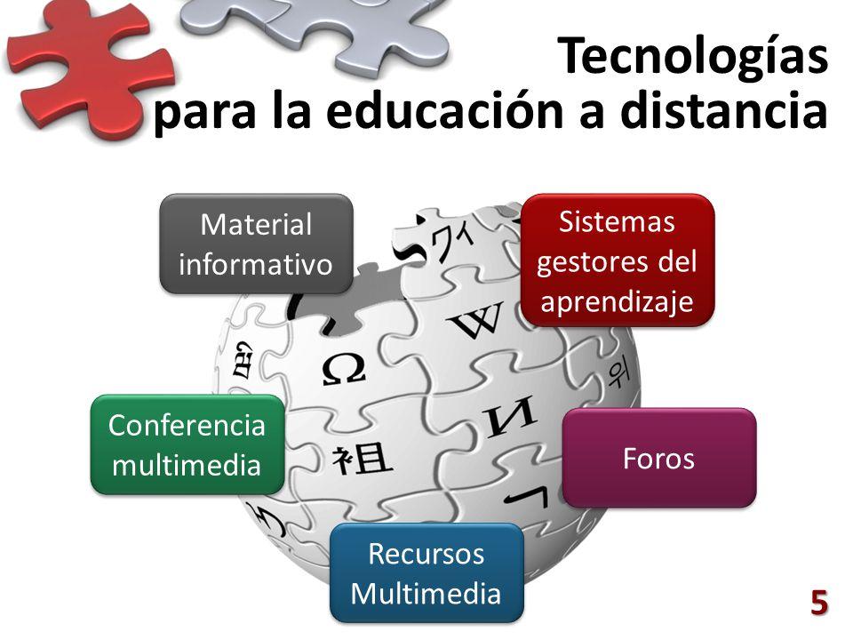 Tecnologías para la educación a distancia 5 Sistemas gestores del aprendizaje Conferencia multimedia Foros Recursos Multimedia Material informativo Ma