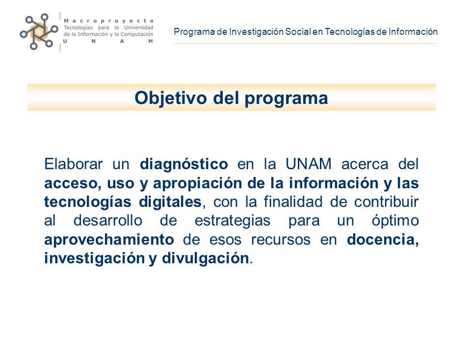 Programa de Investigación Social en Tecnologías de Información Objetivo del programa Elaborar un diagnóstico en la UNAM acerca del acceso, uso y apropiación de la información y las tecnologías digitales, con la finalidad de contribuir al desarrollo de estrategias para un óptimo aprovechamiento de esos recursos en docencia, investigación y divulgación.