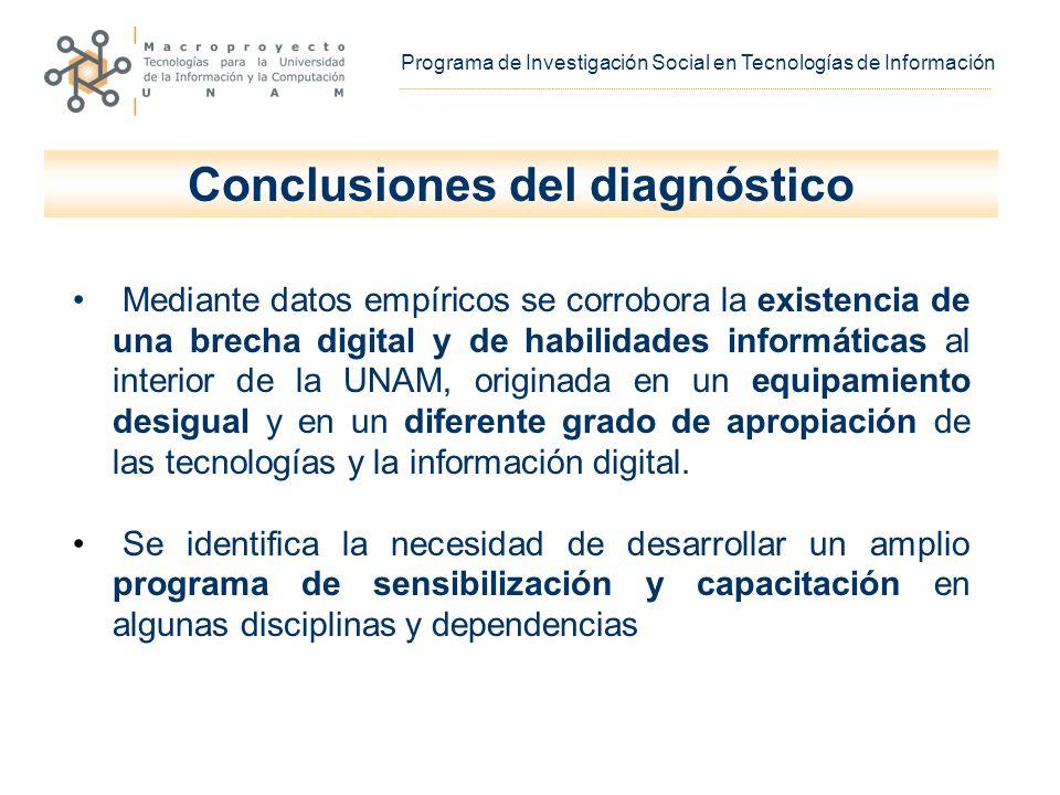 Mediante datos empíricos se corrobora la existencia de una brecha digital y de habilidades informáticas al interior de la UNAM, originada en un equipamiento desigual y en un diferente grado de apropiación de las tecnologías y la información digital.