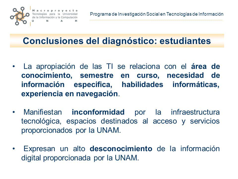 La apropiación de las TI se relaciona con el área de conocimiento, semestre en curso, necesidad de información especifica, habilidades informáticas, experiencia en navegación.