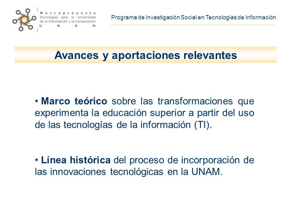 Avances y aportaciones relevantes Marco teórico sobre las transformaciones que experimenta la educación superior a partir del uso de las tecnologías de la información (TI).