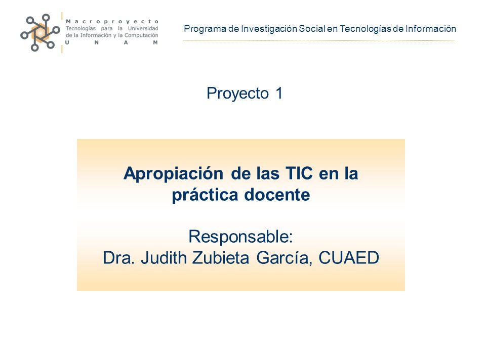 Apropiación de las TIC en la práctica docente Responsable: Dra.