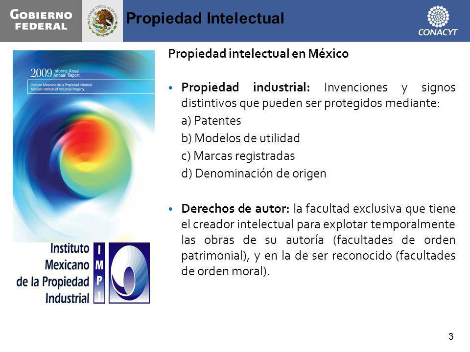Propiedad Intelectual 3 Propiedad intelectual en México Propiedad industrial: Invenciones y signos distintivos que pueden ser protegidos mediante: a)