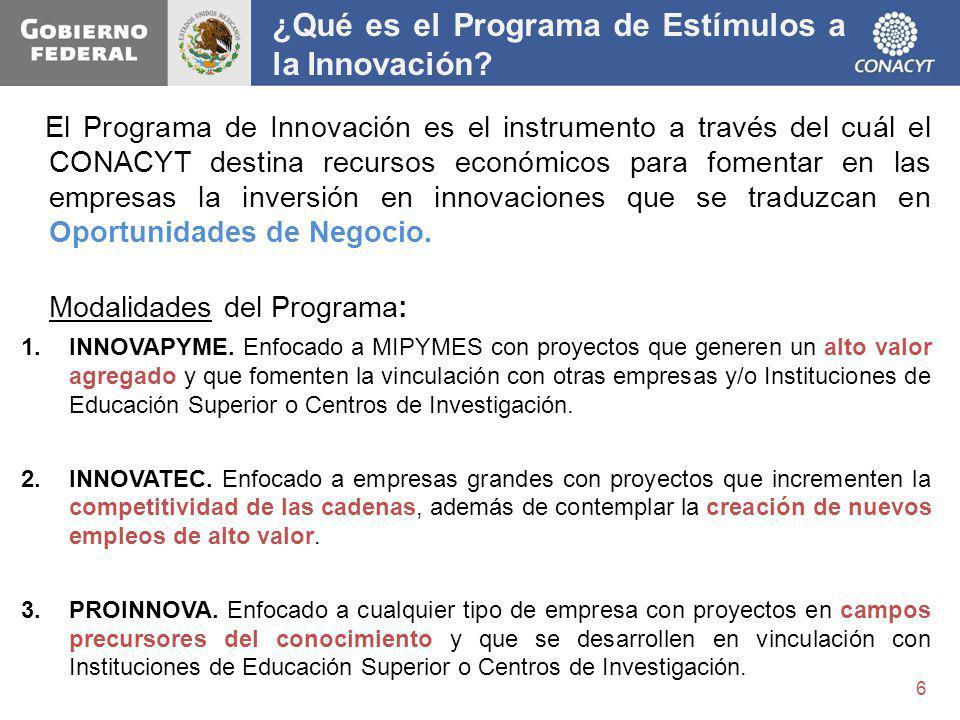 El Programa de Innovación es el instrumento a través del cuál el CONACYT destina recursos económicos para fomentar en las empresas la inversión en inn