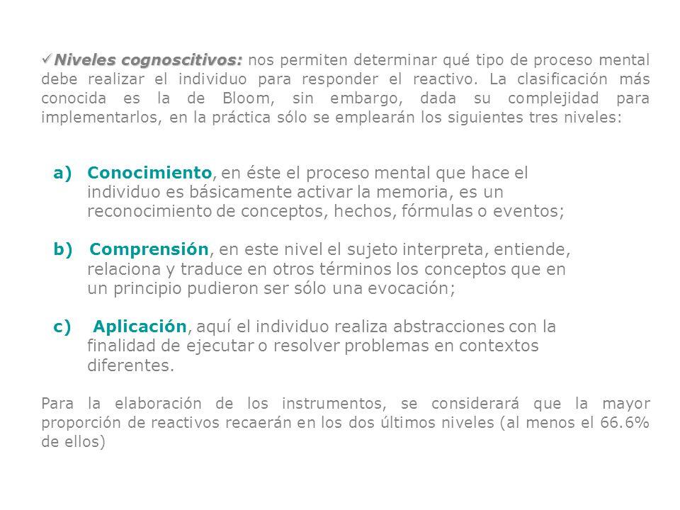 Niveles cognoscitivos: Niveles cognoscitivos: nos permiten determinar qué tipo de proceso mental debe realizar el individuo para responder el reactivo