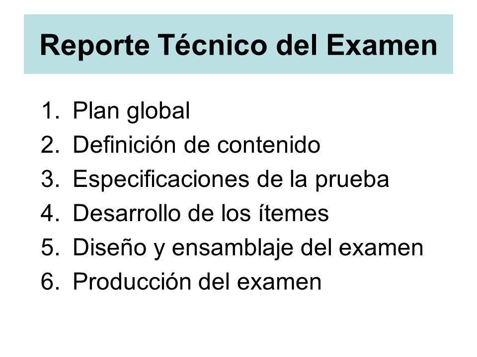 Reporte Técnico del Examen 1.Plan global 2.Definición de contenido 3.Especificaciones de la prueba 4.Desarrollo de los ítemes 5.Diseño y ensamblaje de
