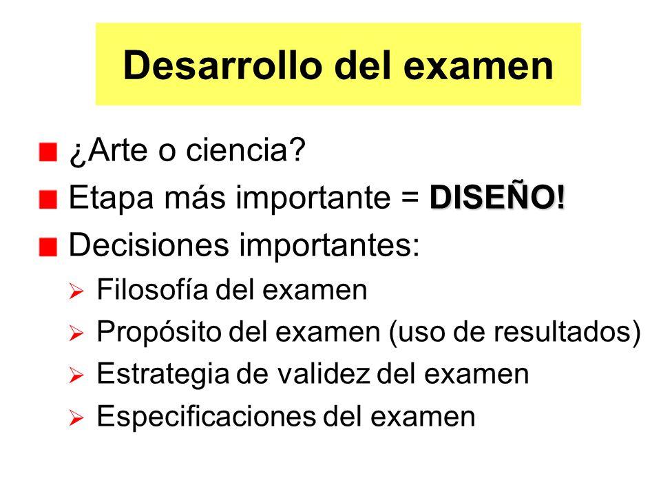 Especificaciones del Examen Definición operacional completa de las características del examen: Tipo de formato del examen Número, tipo y formato de ítemes Sistema de clasificación cognitiva Reglas de calificación Interpretación (norma vs.
