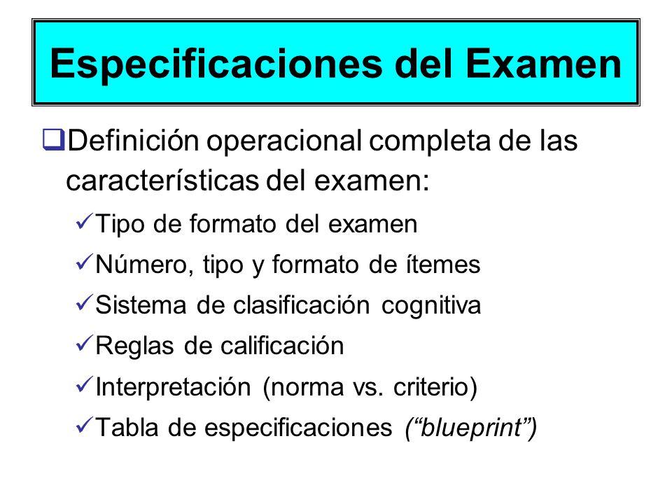 Especificaciones del Examen Definición operacional completa de las características del examen: Tipo de formato del examen Número, tipo y formato de ít