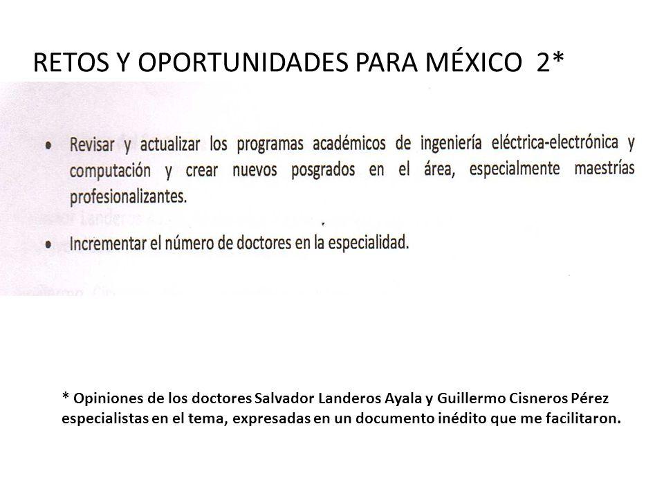 RETOS Y OPORTUNIDADES PARA MÉXICO 2* * Opiniones de los doctores Salvador Landeros Ayala y Guillermo Cisneros Pérez especialistas en el tema, expresad