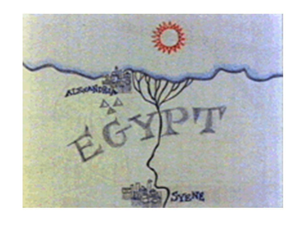 El Diámetro de la Tierra Eratóstenes (Nació en 276 AC en Cirene, ahora Shahhat, Libia; murió en 197 AC en Alejandría, Egipto.) Se dió cuenta de que en